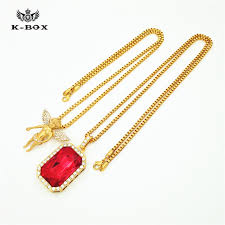 red stones gold necklace images Men 39 s iced out gold necklace set hip hop angel cherub square red jpg