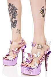 purple metallic garden flower heels dolls kill