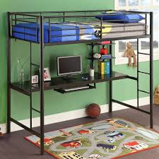 Twin Loft Bed With Desk Underneath Twin Loft Bed With Desk White Painting Wall Book Storage Combined