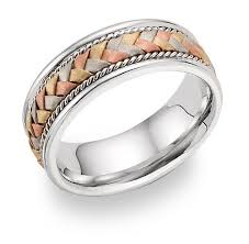 braided band 14k tri color gold braided wedding band ring