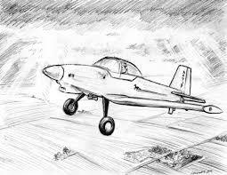 pencil sketch of aeroplane small passenger airplane print of my