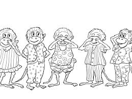 5 little monkeys coloring page coloring page for kids