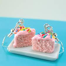 food earrings pink cake earrings strawberry cake with rainbow sprinkles food