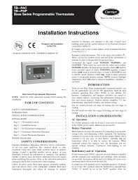 carrier base series programmable thermostats tb pac user manual