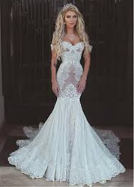 mermaid wedding buy discount chic tulle lace the shoulder neckline mermaid
