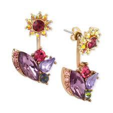 front and back earrings s betsey johnson women s gold tone peacock drop earrings wedojewel