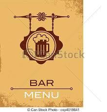 ancient street signboard of beer house bar menu template