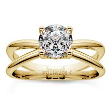 solitaire rings gold images Cross split shank solitaire engagement ring in yellow gold jpg