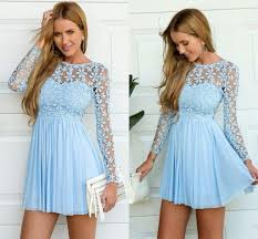 light blue long sleeve crochet tulle skater dress cute lace a line