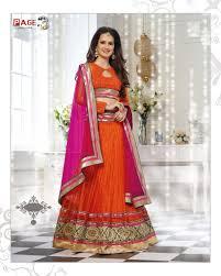 aesthetic deep orange net party wear lehnga choli mumbai page3