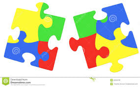 multicolored puzzle pieces symbolizing autism awareness royalty