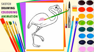 how to draw flamingo for kids coloring page cute bird for