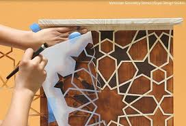 how to stencil stain furniture with a diy faux wood inlay design