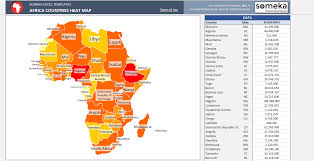 Map Of Africa Countries Africa Heat Map Excel Template Automatic Country Coloring