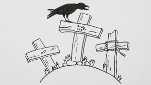 how to draw a halloween graveyard with crow cartoon comic doodle