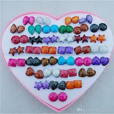 plastic stud earrings 2017 random mix styles heart drop resin plastic stud earrings