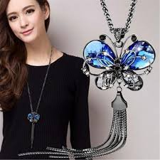 butterfly long chain necklace images Long chain butterfly crystal necklace dayly deals jpg