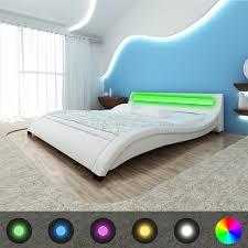 Schlafzimmer Bett Mit Led Polsterbett Kunstleder Doppelbett Bett Led Streifen Lattenrost