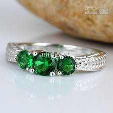 silver rings stones images 2018 ladies 3 stone green emerald anniversary finger silver ring jpg
