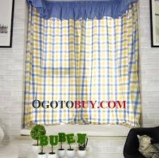 Discount Curtains And Valances Mediterranean Style Curtains Yellow And Blue Plaid Print No