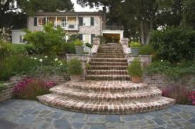 Backyard Steps Ideas Brick Steps Ideas Landscape Traditional With Outdoor Lantern Metal