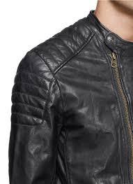 leather apparel scotch u0026 soda wrinkled leather biker jacket in black for men lyst