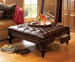 Square Brown Leather Ottoman Fantastic Upholstered Leather Ottoman Coffee Table Square Design