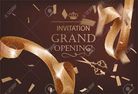 Invitation Card For Grand Opening Grand Opening Invitation Card With Sparkling Background And Curly