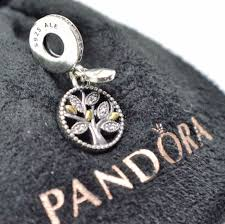 genuine pandora silver 14k gold family tree charm 791728cz ebay