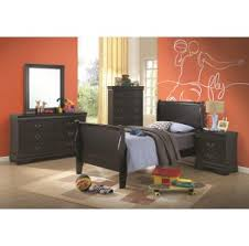 Louis Philippe Sleigh Bed Louis Philippe Black Queen Bed With Storage In Headboard And