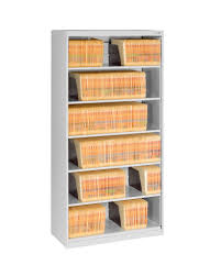 tennsco storage made easy 6 tier lateral file with fixed shelf