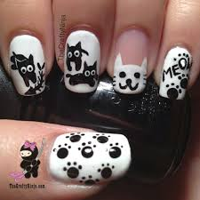 kitty cat nails tutorial thecraftyninja com nail art pinterest