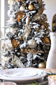 White Christmas Tree With Gold Decorations A Classic Christmas Holiday Table Holiday Entertaining Blog Tour