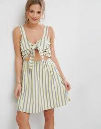 asos striped sundress with bow and cut out detail lyst