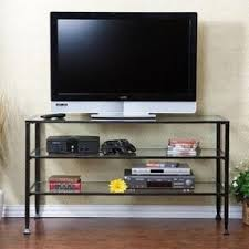 Tv Tables For Flat Screens Glass And Metal Tv Stands Foter