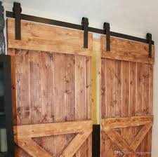 2018 10ft new double wood sliding barn door hardware rustic black track kit from langqiguomao 185 93 dhgate com