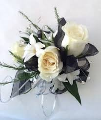 black and white corsage black and white wrist corsage weddings and prom in la porte in