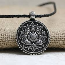 necklace with photo pendant images Antique silver om lotus mandala pendant necklace project yourself jpg