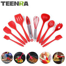 Red Kitchen Utensil Set - aliexpress com buy teenra 10pcs red silicone kitchen utensils