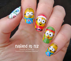 christmas minions nail art inspired by despicable me
