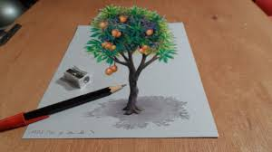very easy 3d paintings on paper drawing tree how to draw 3d mango tree