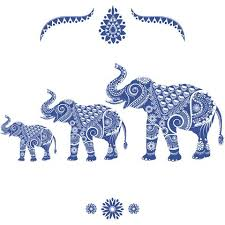ornamental elephants blue