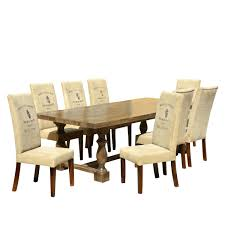 Glass Dining Table Set 8 Chairs Cafac Logo Mango Dining Table Set With Fabric Upholstered Chairs