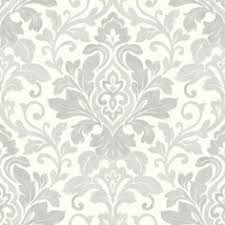 medina white u0026 silver metallic damask feature wallpaper by debona