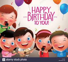 happy birthday singing kids vector characters singing happy birthday and happy