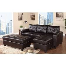 aspen reversible espresso bonded leather chaise sectional free
