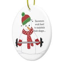 weight lifting snowman ceramic ornament zazzle