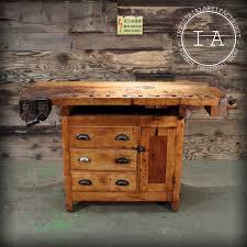 vintage industrial woodworker u0027s carpenter u0027s wood work bench table