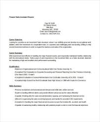 Sales Assistant Resume Template Finance Resume Templates 28 Free Word Pdf Documents Download