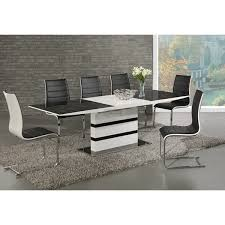 arctic black glass and white high gloss extending dining table set